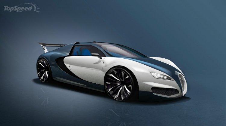 Bugatti Chiron rendering front three quarter (Bugatti Veyron successor)