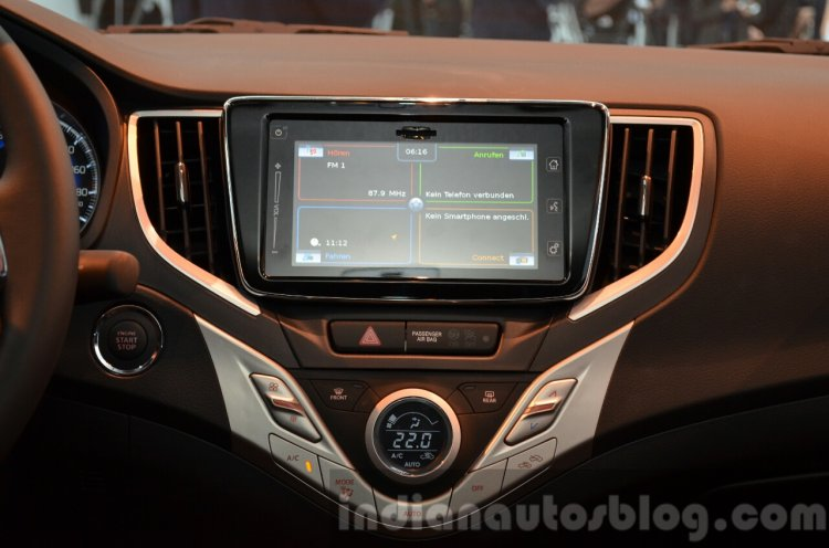2016 Suzuki Baleno center console at the IAA 2015