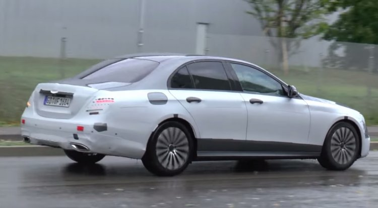 2017 Mercedes E Class (W213) rear three quarter spotted with minimal camouflage
