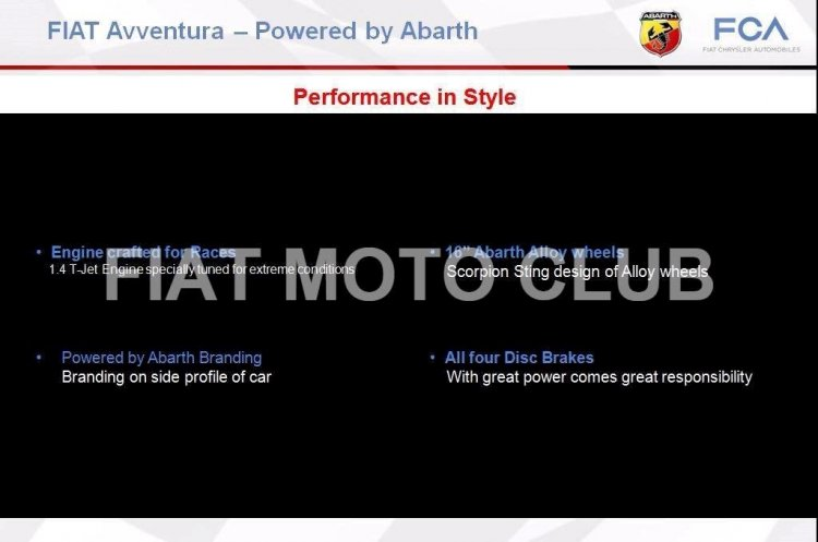 Fiat Avventura Powered by Abarth salient features India's first hot crossover
