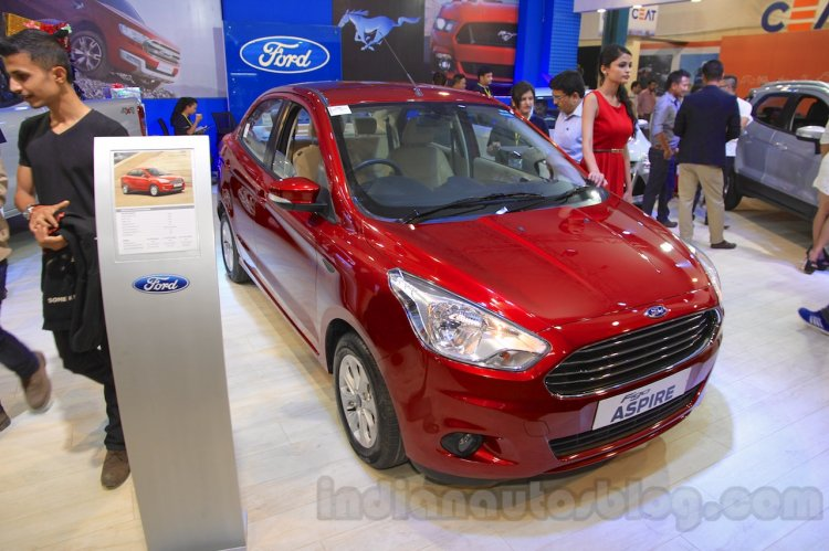 Ford Figo Aspire front quarter at the 2015 NADA Auto Show