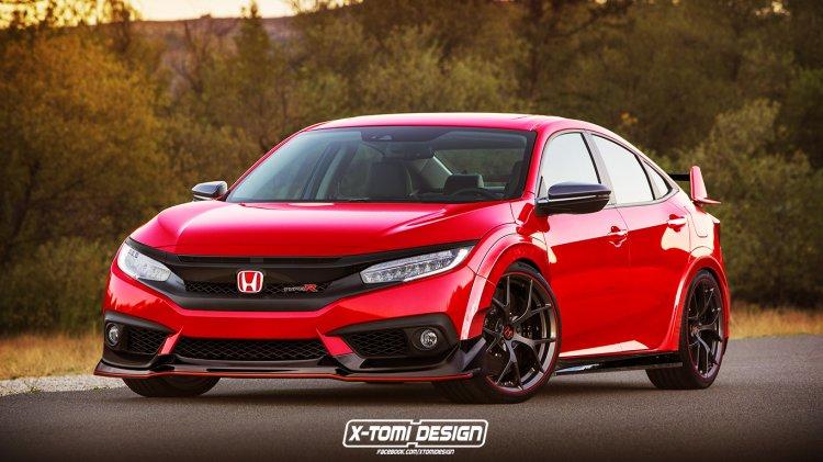 Honda Civic sedan with Type-R enhancements front three quarter Rendering