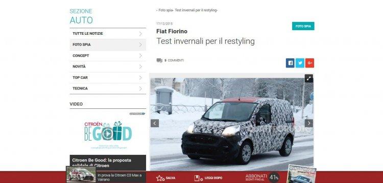 2016 Fiat Fiorino spy shot