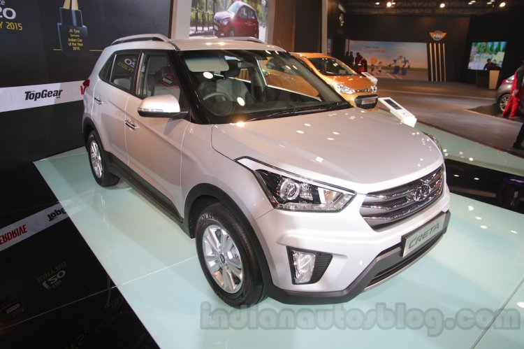 Hyundai Creta front three quarters left at Auto Expo 2016