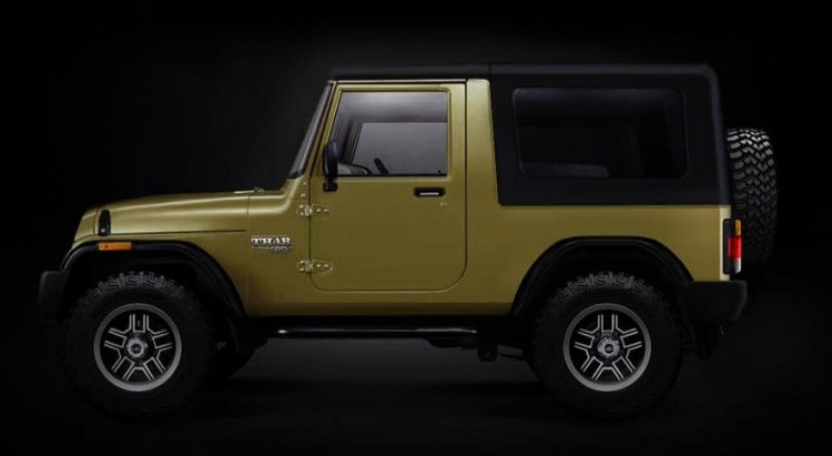 2020 Mahindra Thar side profile rendering image