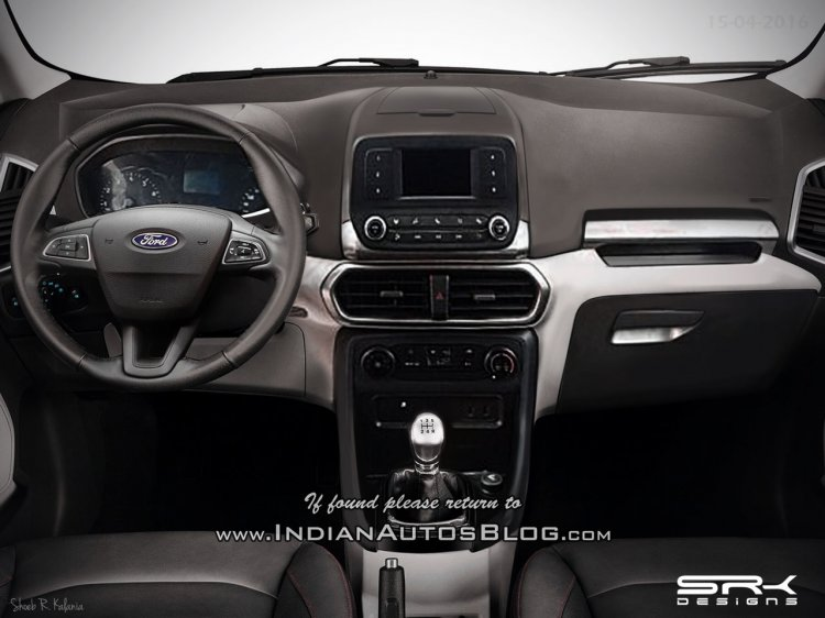 Ford EcoSport facelift new interior Rendering