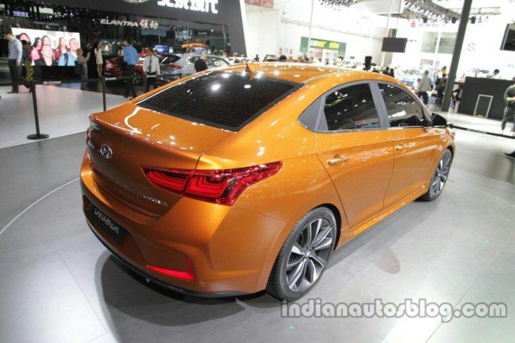 Hyundai Verna Concept rear at the Auto China 2016 Live