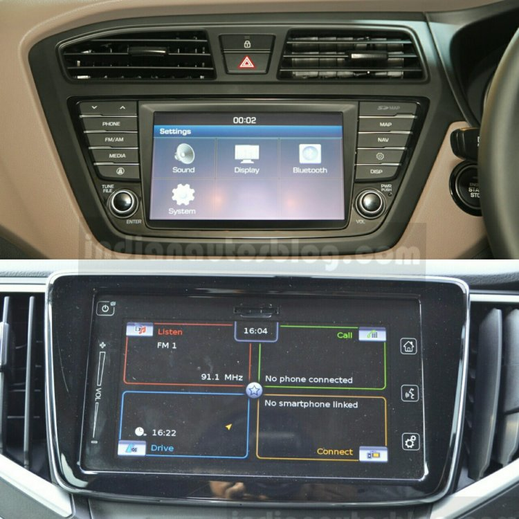 Maruti Baleno vs Hyundai Elite i20 display Comparison Review