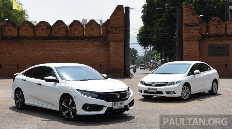2016 Honda Civic vs 2014 Honda Civic front three quarter In Images