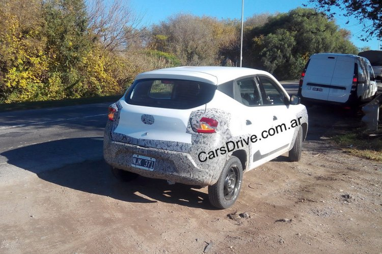 Camouflaged Renault Kwid rear quarter spied testing in Argentina