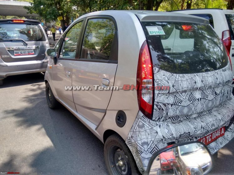 Tata Nano electric rear quarter spied up-close