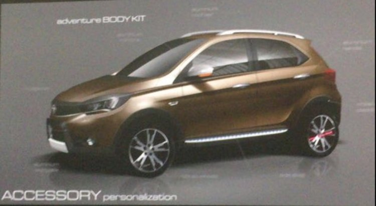 Tata Tiago Aktiv side shown in brown shades