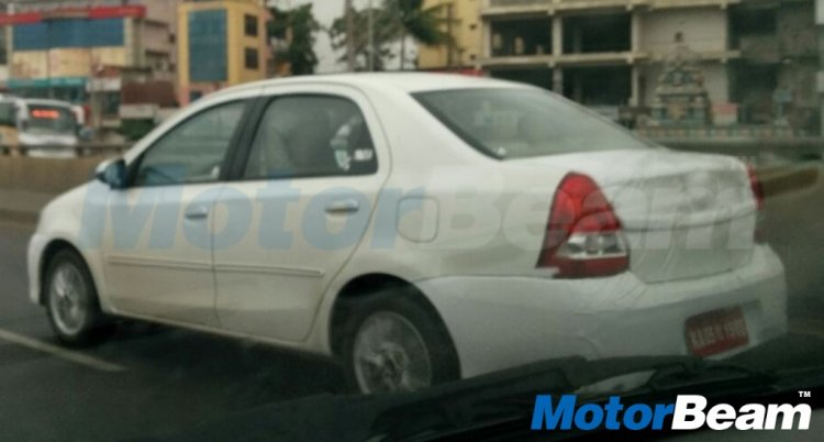 New Toyota Etios rear three quarter (facelift) spied ahead of launch this year