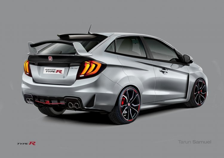 Honda Amaze Type R rear three quarter Rendering