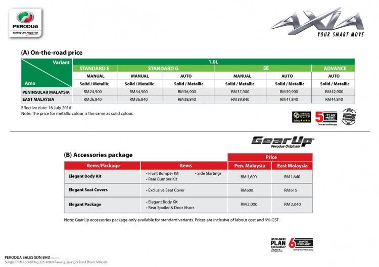 2017 Perodua Axia prices brochure