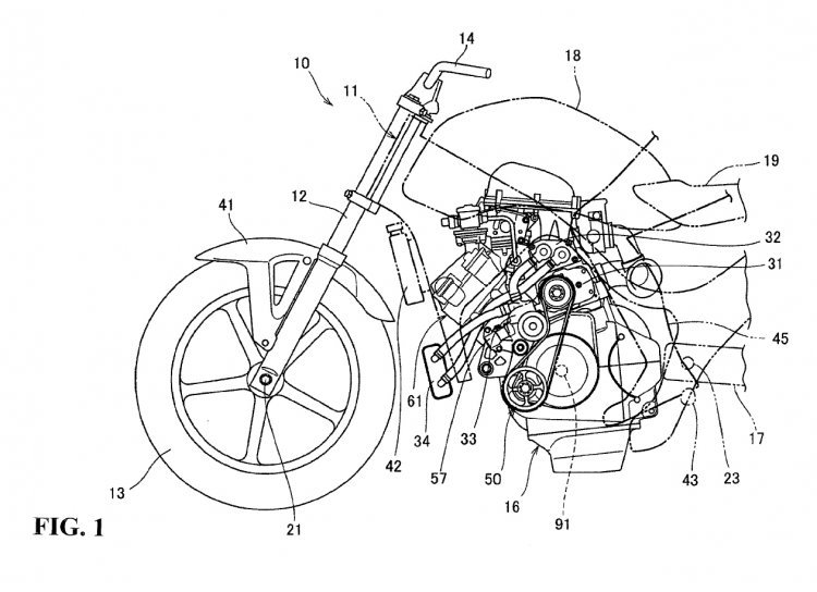 Honda supercharged motorcycle patent sketch side