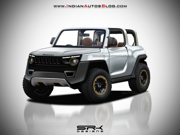2020 Mahindra Thar Concept front quarter IAB Rendering