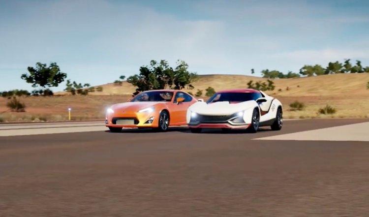 Toyota GT 86 vs Tamo Racemo virtual drag race