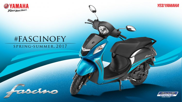 2017 Yamaha Fascino studio blue dual tone front three quarter left