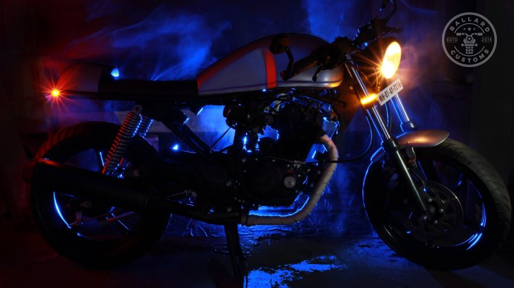 Hero Karizma cafe racer by Ballard Customs side view with lights