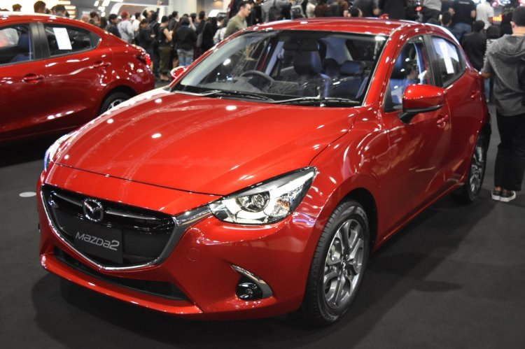 Mazda2 hatchback front three quarters at 2017 Bangkok International Motor Show