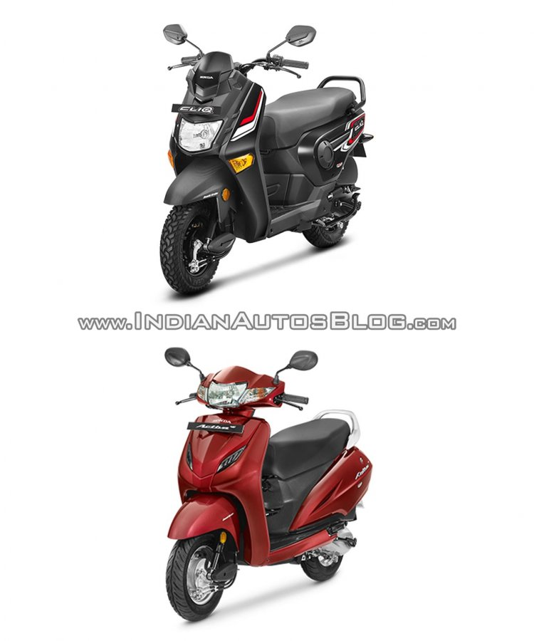 Honda Cliq vs Honda Activa - Spec sheet comparison front three quarter right