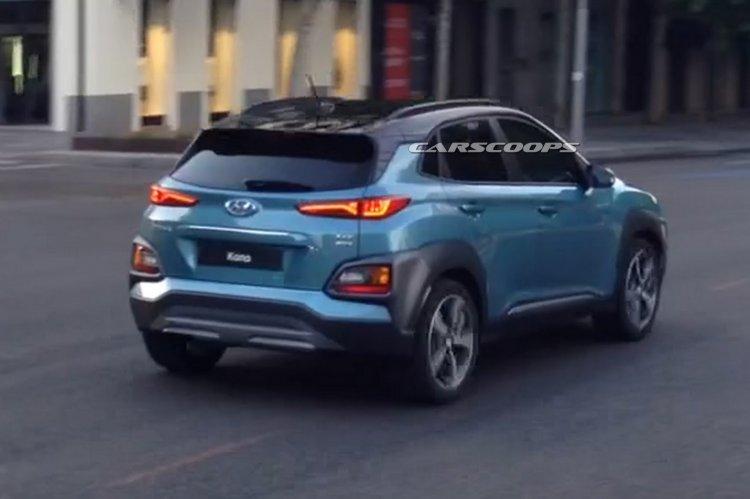 Hyundai Kona SUV blue spied during TVC shoot in Spain