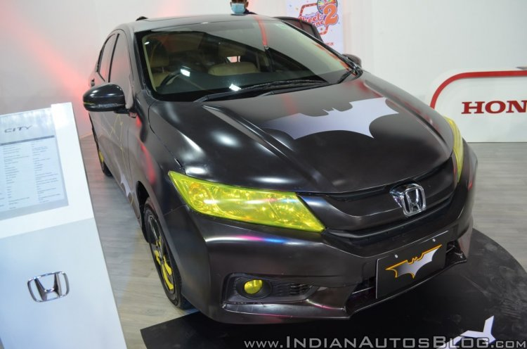 Batman-themed Honda City front three quarters right side at Nepal Auto Show 2017