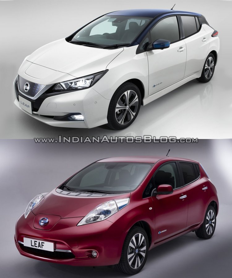 2018 Nissan Leaf vs. 2014 Nissan Leaf front three quarters