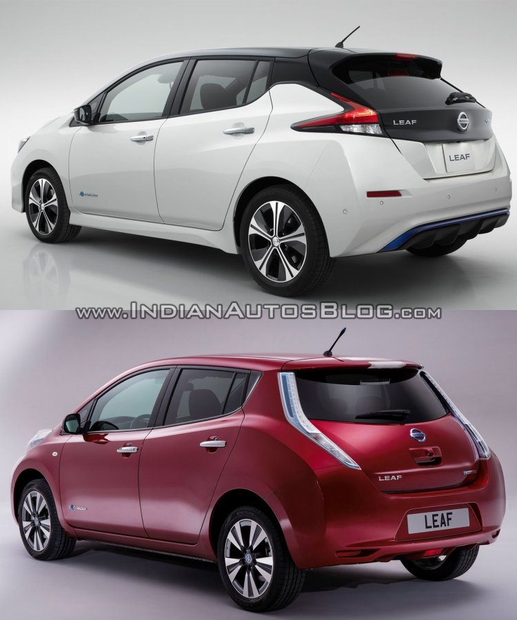 2018 Nissan Leaf vs. 2014 Nissan Leaf rear three quarters