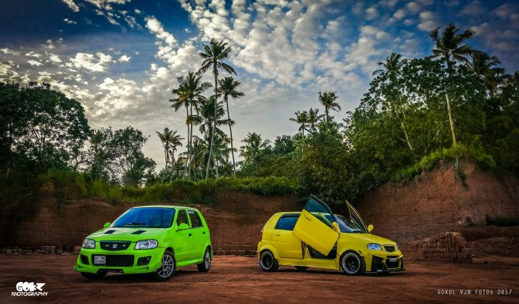 Modified Maruti Alto green and yellow