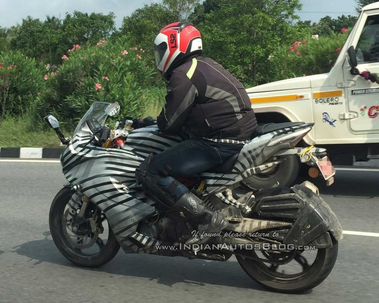 TVS Apache RR 310 spied with modified tyre hugger rear left quarter closeup