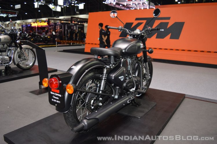 Royal Enfield Classic 500 Stealth Black rear right quarter at 2017 Thai Motor Expo