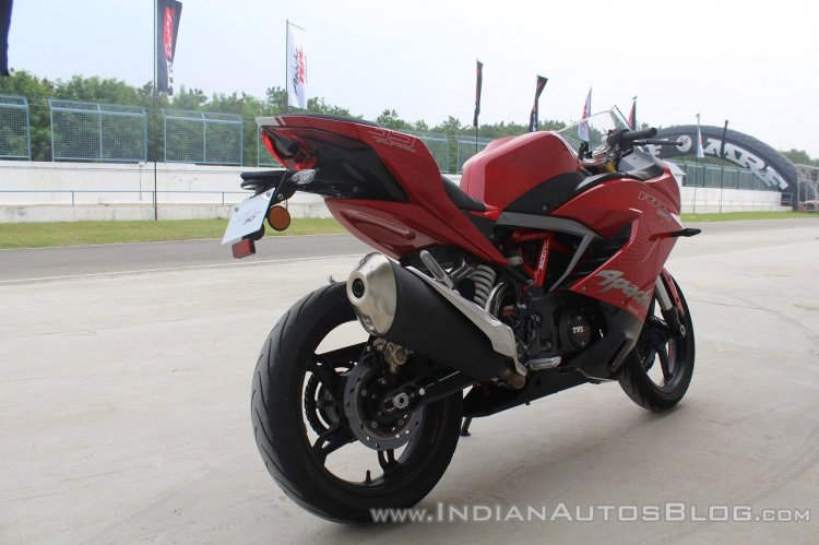 TVS Apache RR 310 first ride review rear right quarter