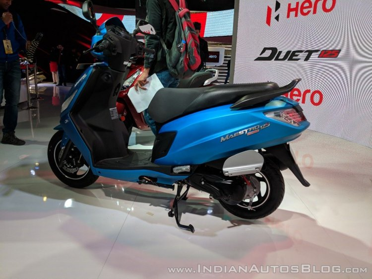 Hero Maestro Edge 125 rear left quarter at 2018 Auto Expo