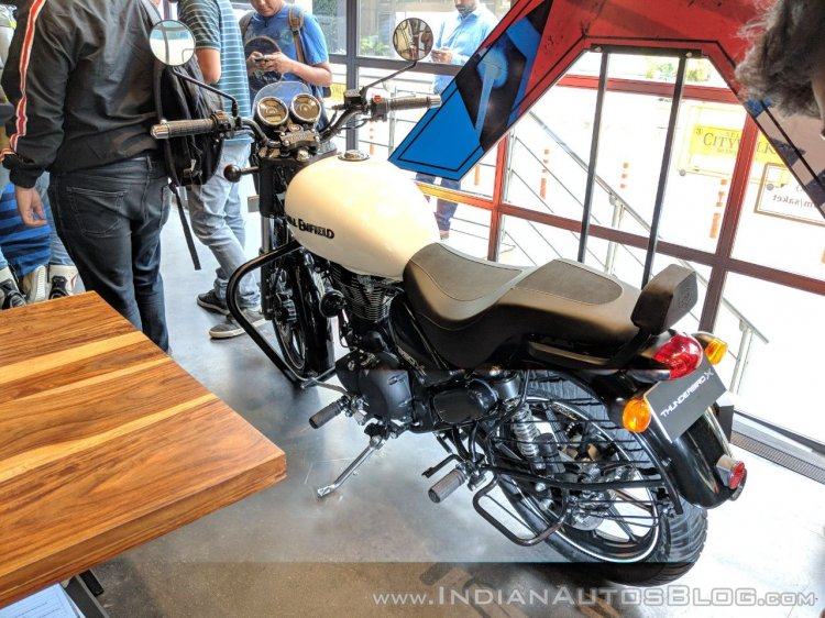 Royal Enfield Thunderbird 350X White with accessories rear left quarter India launch