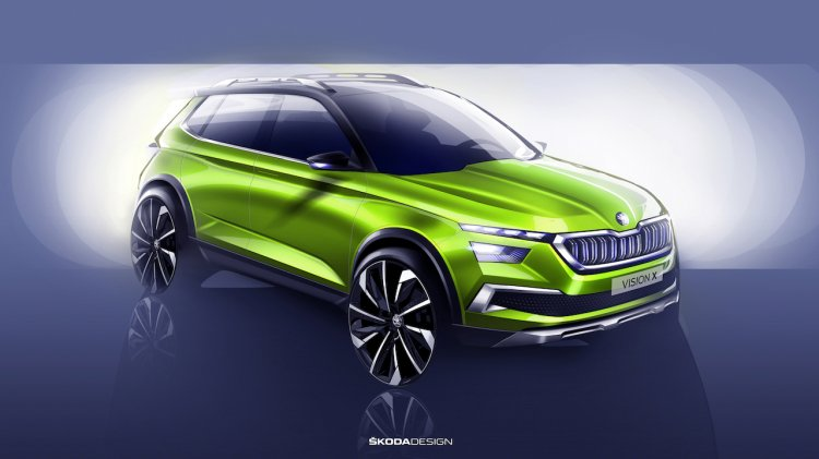 Skoda Vision X concept front three quarters teaser