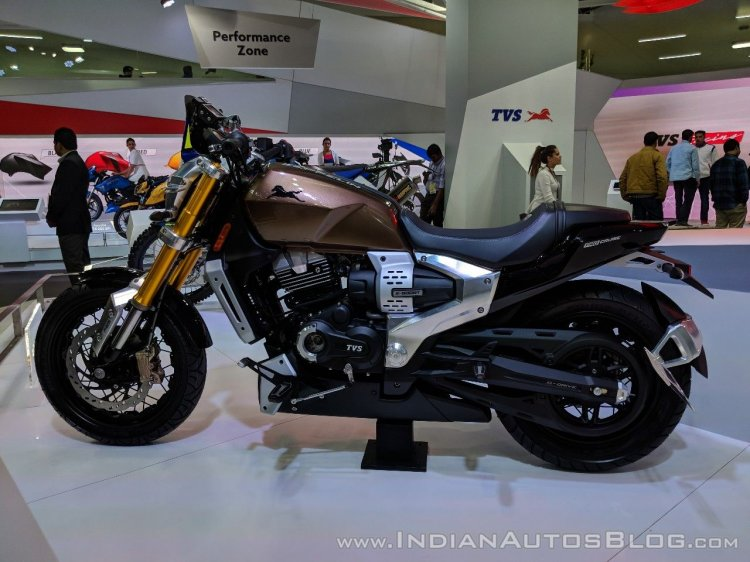 TVS Zeppelin Concept left side at 2018 Auto Expo