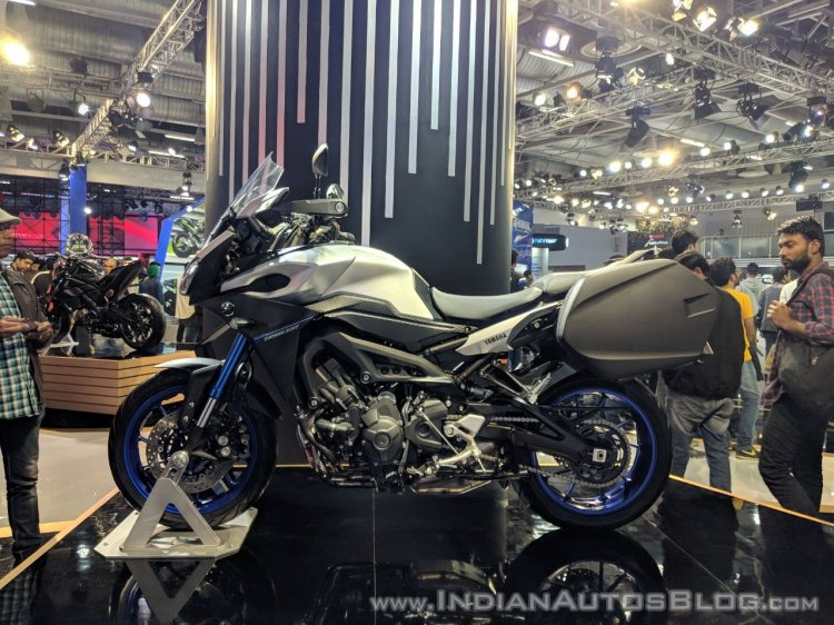 Yamaha MT-09 Tracer left side at 2018 Auto Expo