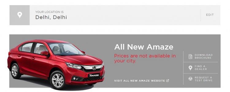 Honda Amaze online listing