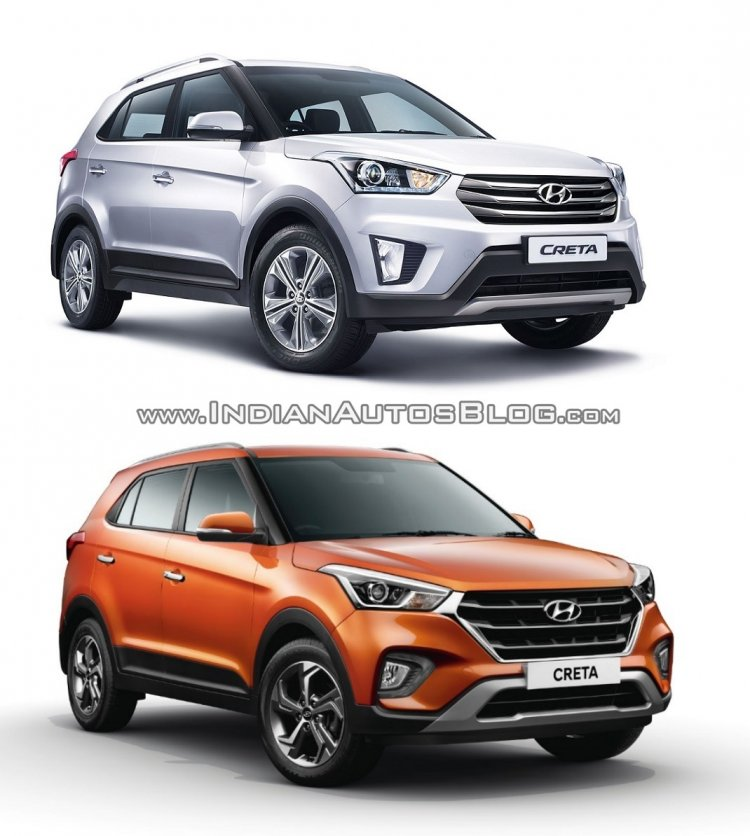 Hyundai Creta old vs new front three quarters