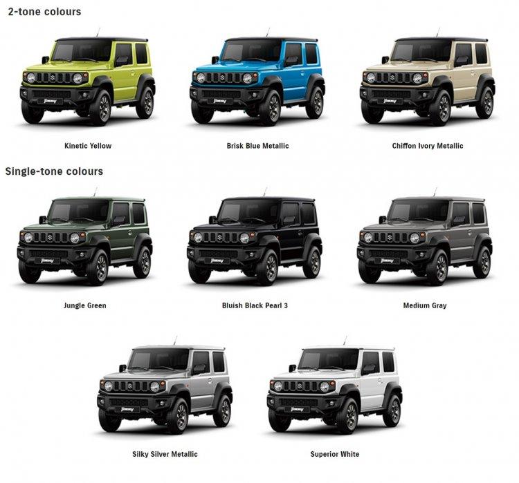 All-new 2019 Suzuki Jimny colours