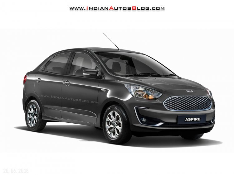 Indian-spec 2018 Ford Aspire (facelift) front three quarters rendering