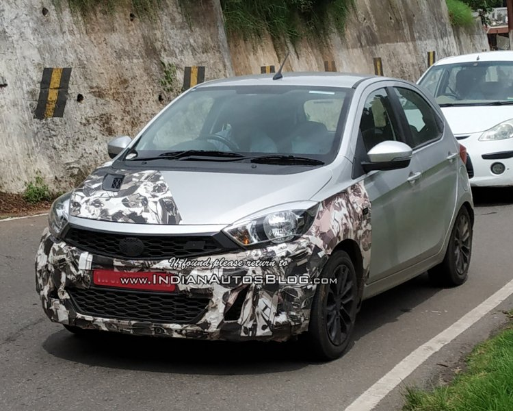 Tata Tiago JTP front three quarters spy shot