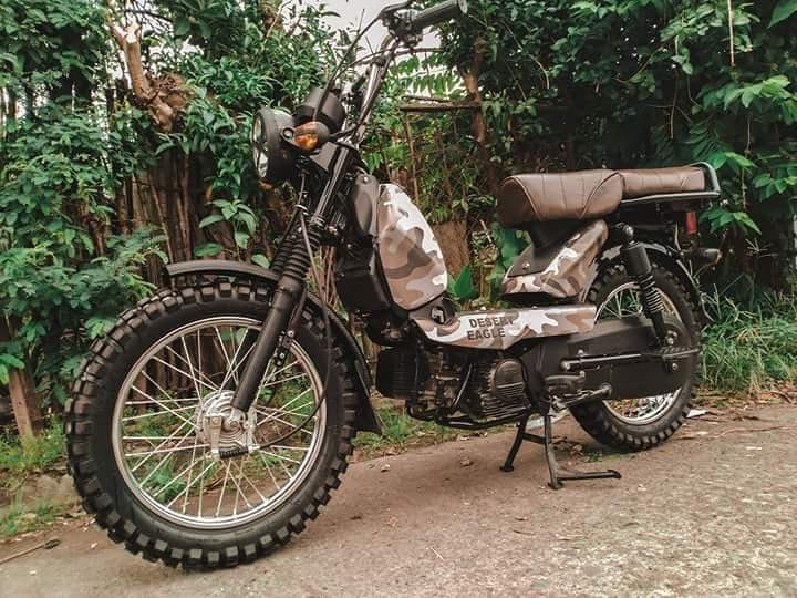 Tvs Xl100 Wears Camouflage Paint Knobby Tyres
