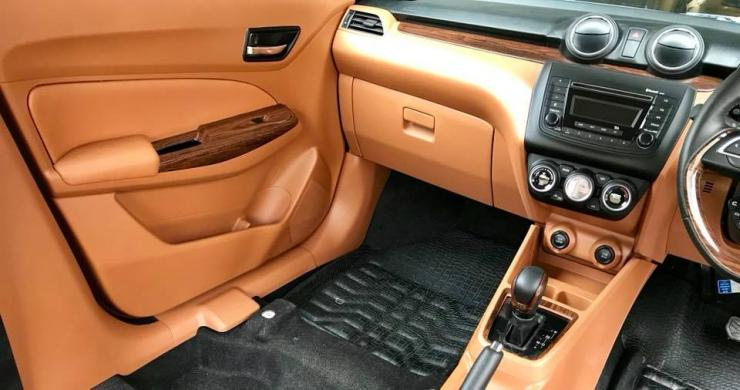 This modified Maruti Swift has a really classy interior