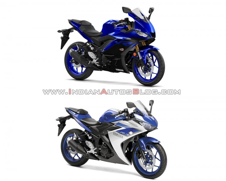 2019 Yamaha R3 Blue Old Vs New Comparison Front Ri