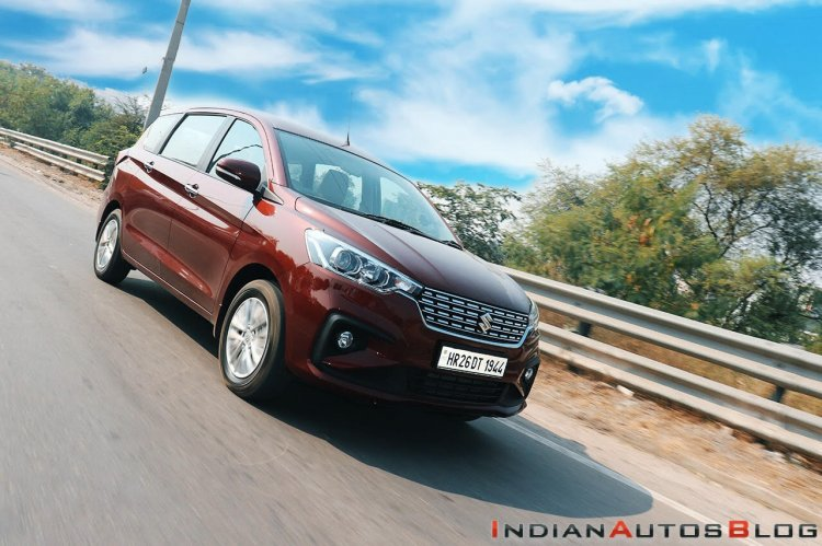 2018 Maruti Ertiga Review Images Front Three Quart