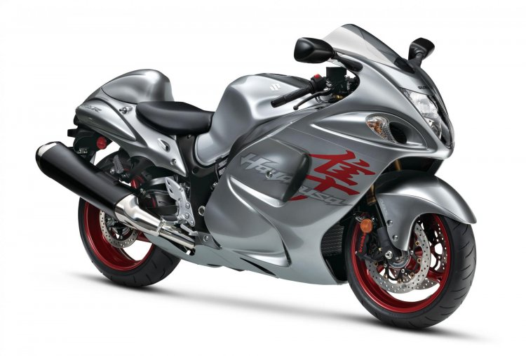 2019 Suzuki Hayabusa Grey Red Front Quarter