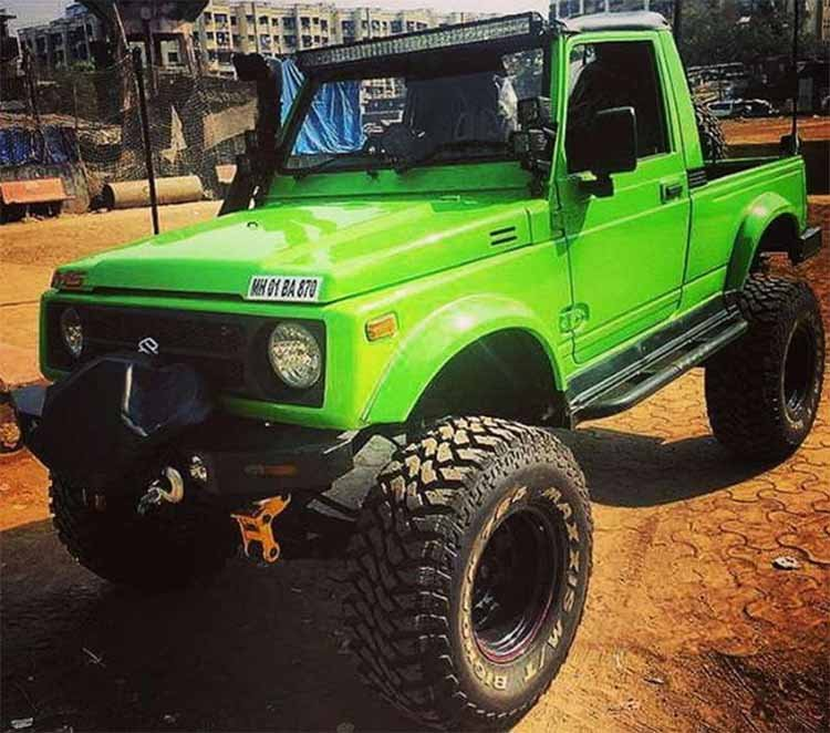 Modified Maruti Gypsy Green Monster Mumbai Front T
